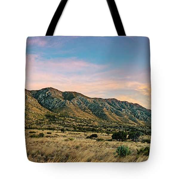 Panorama Of Hunter Peak And Frijole Ridge At Guadalupe Mountains National Park - West Texas Tote Bag