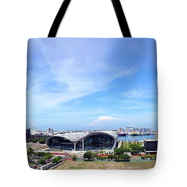 Tote Bag featuring the photograph Panorama Of Kaohsiung Port by Yali Shi
