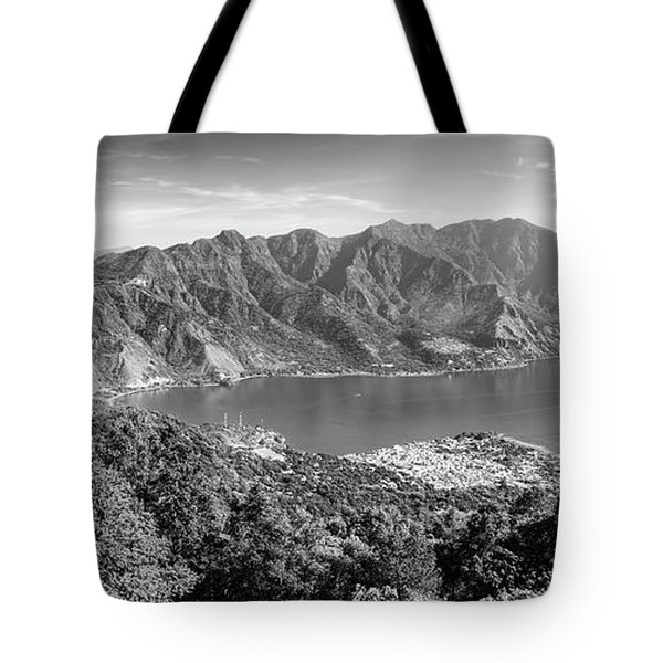 Tote Bag featuring the photograph Panorama Of Lake Atitlan Black And White by Tim Hester