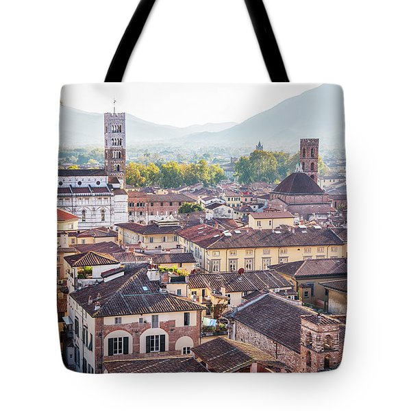 Tote Bag featuring the photograph panorama of old town Lucca, Italy by Ariadna De Raadt