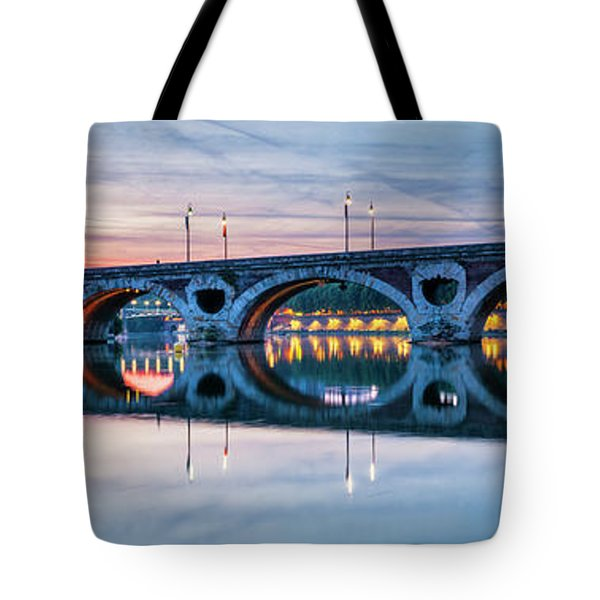 Tote Bag featuring the photograph Panorama Of Pont Neuf In Toulouse by Elena Elisseeva