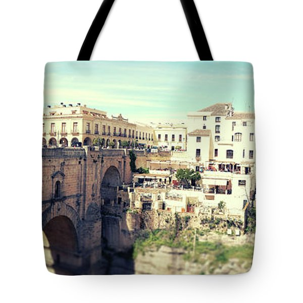 Tote Bag featuring the photograph panorama of  Rondo in Spain by Ariadna De Raadt