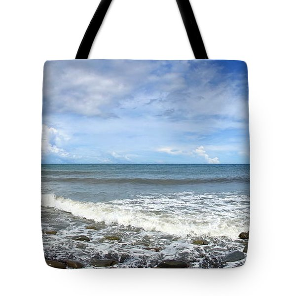 Tote Bag featuring the photograph Panorama Of Rugged Coastline In Taiwan by Yali Shi