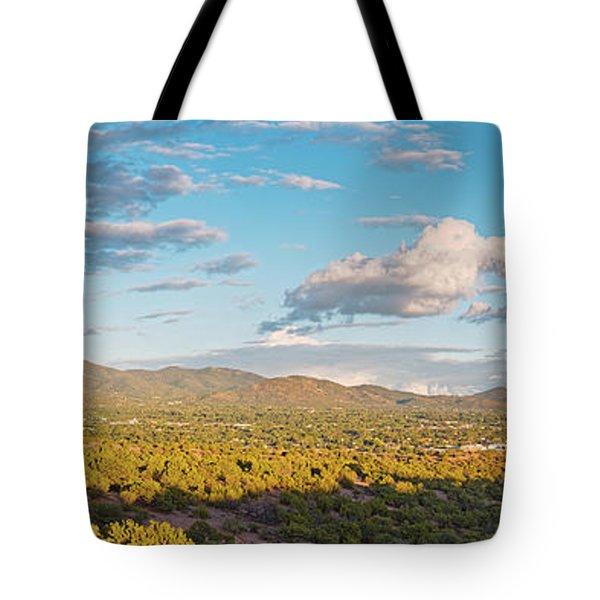 Panorama Of Santa Fe And Sangre De Cristo Mountains - New Mexico Land Of Enchantment Tote Bag