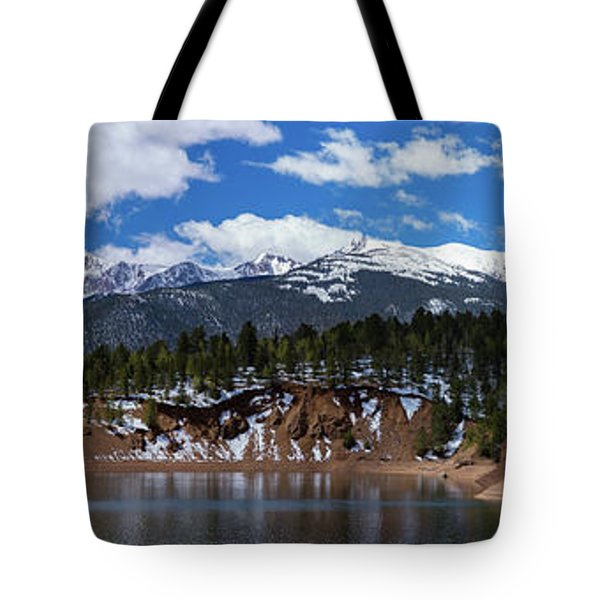 Panorama Of South Catamount Reservoir With Pike's Peak Covered I Tote Bag