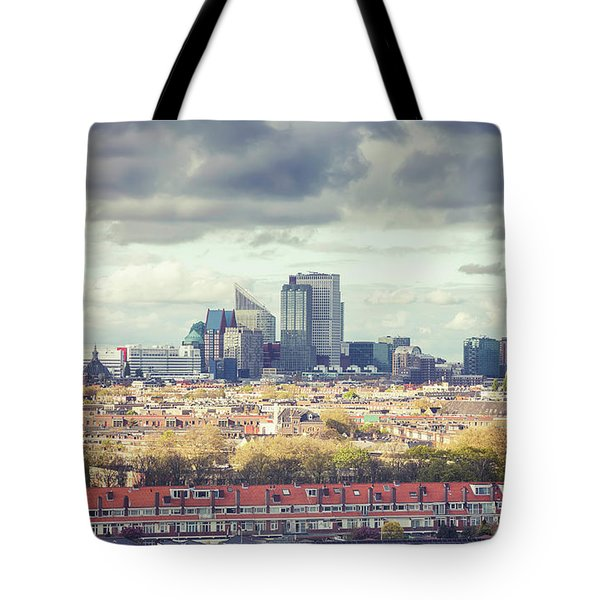 Tote Bag featuring the photograph panorama of the Hague modern city by Ariadna De Raadt