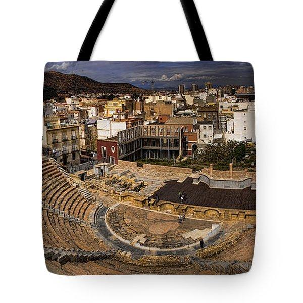 Panorama Of The Roman Forum In Cartagena Spain Tote Bag