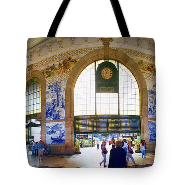 Panorama Of The Sao Bento Train Station In Oporto Portugal Tote Bag