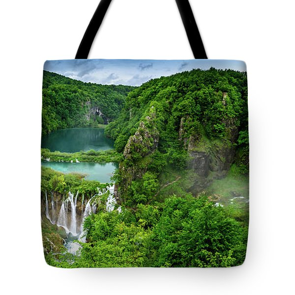 Panorama Of Turquoise Lakes And Waterfalls - A Dramatic View, Plitivice Lakes National Park Croatia Tote Bag
