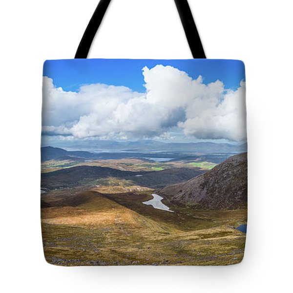 Tote Bag featuring the photograph Panorama Of Valleys And Mountains In County Kerry On A Summer Da by Semmick Photo