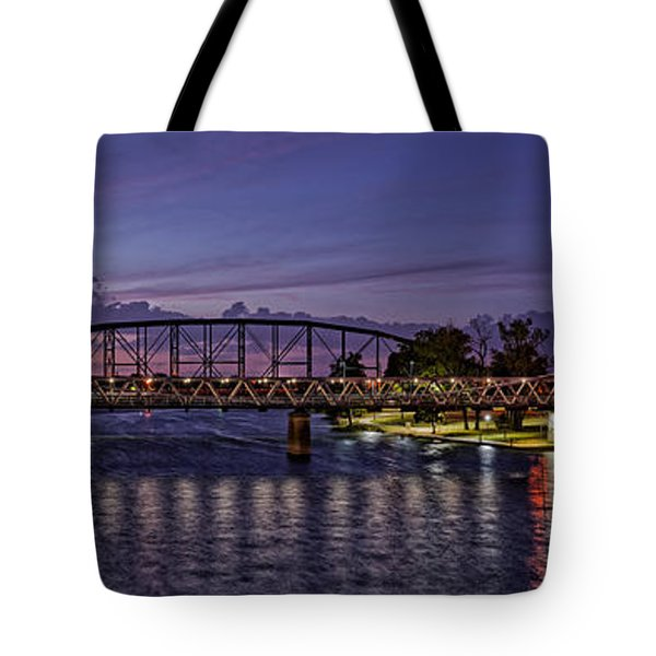 Panorama Of Waco Suspension Bridge Over The Brazos River At Twilight - Waco Central Texas Tote Bag