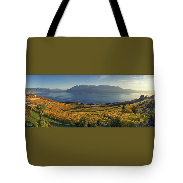 Panorama On Lavaux Region, Vaud, Switzerland Tote Bag