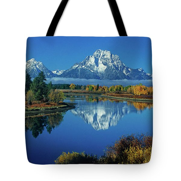 Tote Bag featuring the photograph Panorama Oxbow Bend Grand Tetons National Park Wyoming by Dave Welling