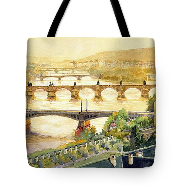 Panorama Prague Briges Tote Bag by Yuriy  Shevchuk