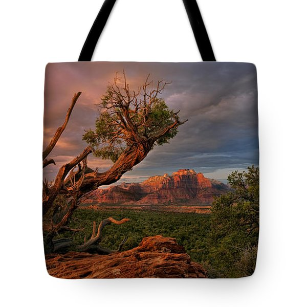 Tote Bag featuring the photograph Panorama Storm Back Of Zion Near Hurricane Utah by Dave Welling