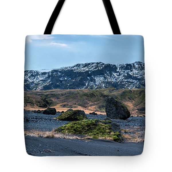 Panorama View Of An Icelandic Mountain Range Tote Bag
