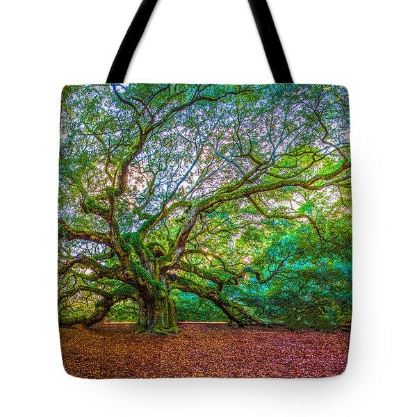 Panoramic Angel Oak Tree Charleston Sc Tote Bag
