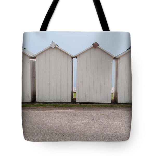 Panoramic Beach Huts Tote Bag by Helen Northcott