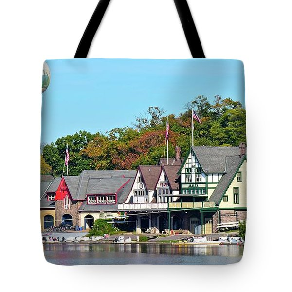Panoramic Boathouse Row In Philly Tote Bag