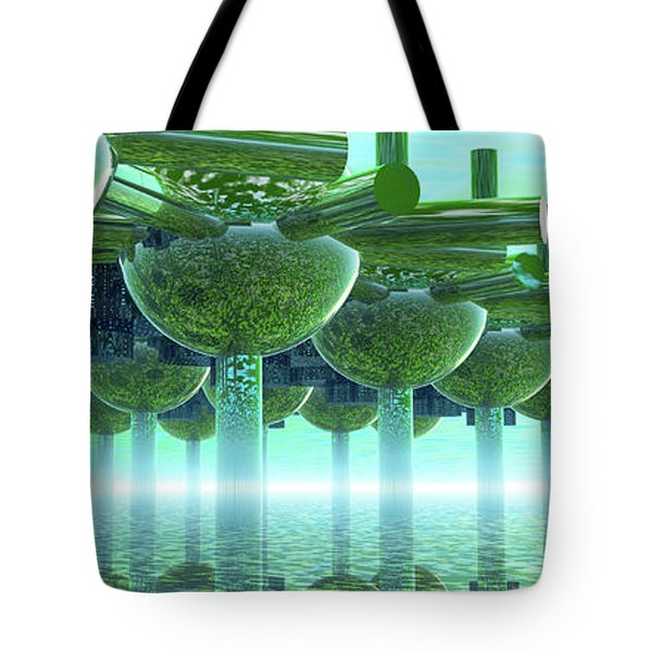 Panoramic Green City And Alien Or Future Human Tote Bag by Nicholas Burningham