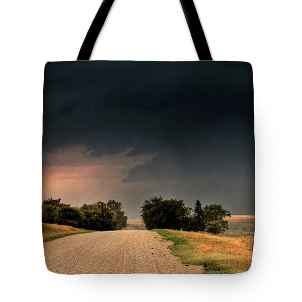 Panoramic Lightning Storm In The Prairie Tote Bag by Mark Duffy