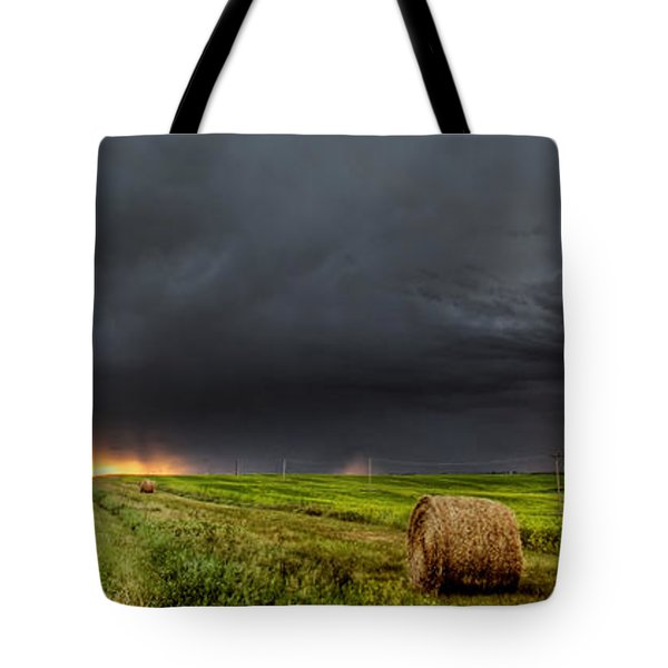 Panoramic Lightning Storm In The Prairies Tote Bag by Mark Duffy
