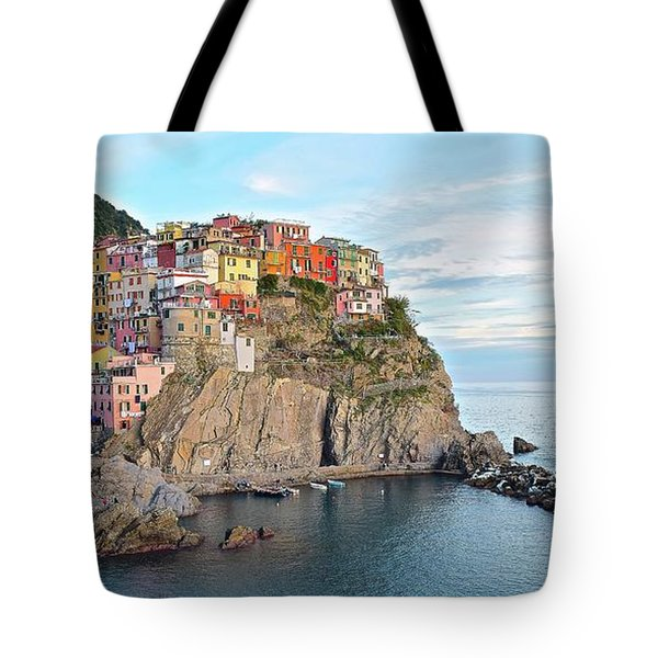 Tote Bag featuring the photograph Panoramic Manarola Seascape by Frozen in Time Fine Art Photography