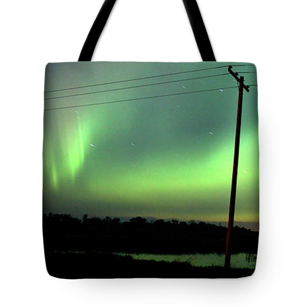 Panoramic Prairie Northern Lights Tote Bag by Mark Duffy
