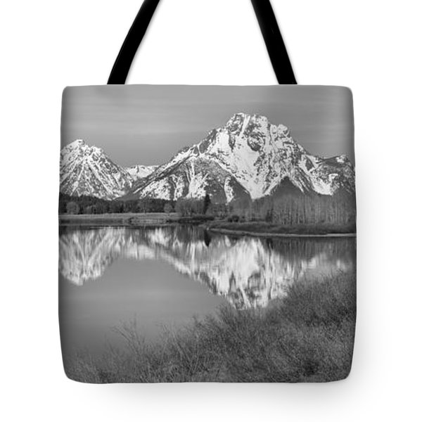 Panoramic Reflections At Oxbow Black And White Tote Bag by Adam Jewell