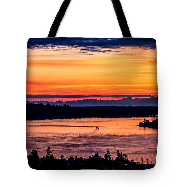 Panoramic Sunset Over Hail Passage E Series On The Puget Sound Tote Bag