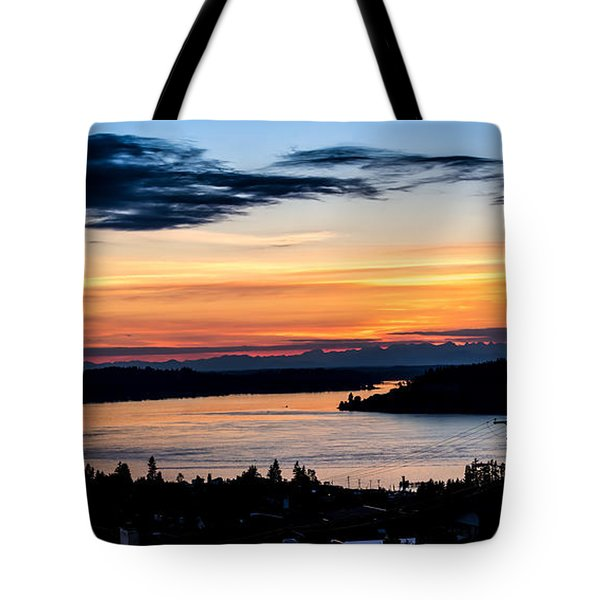 Panoramic Sunset Over Hail Passage  Tote Bag