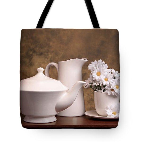 Panoramic Teapot With Daisies Tote Bag by Tom Mc Nemar