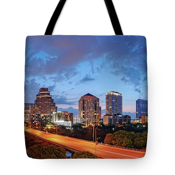 Panoramic Twilight View Of Downtown Austin Skyline And Congress Avenue Bridge - Travis County Texas  Tote Bag