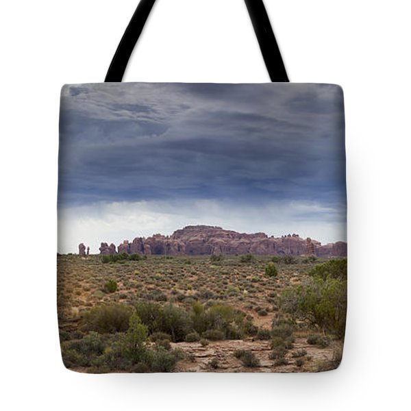 Panoramic View At Arches National Park Tote Bag