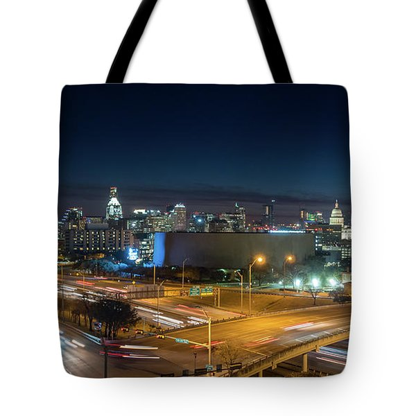 Panoramic View Of Busy Austin Texas Downtown Tote Bag
