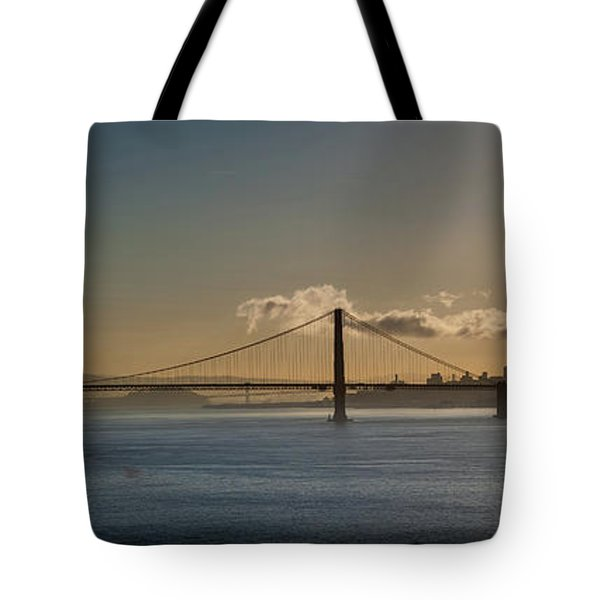 Panoramic View Of Downtown San Francisco Behind The Golden Gate  Tote Bag