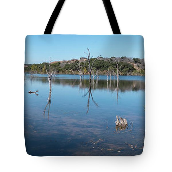 Panoramic View Of Large Lake With Grass On The Shore Tote Bag