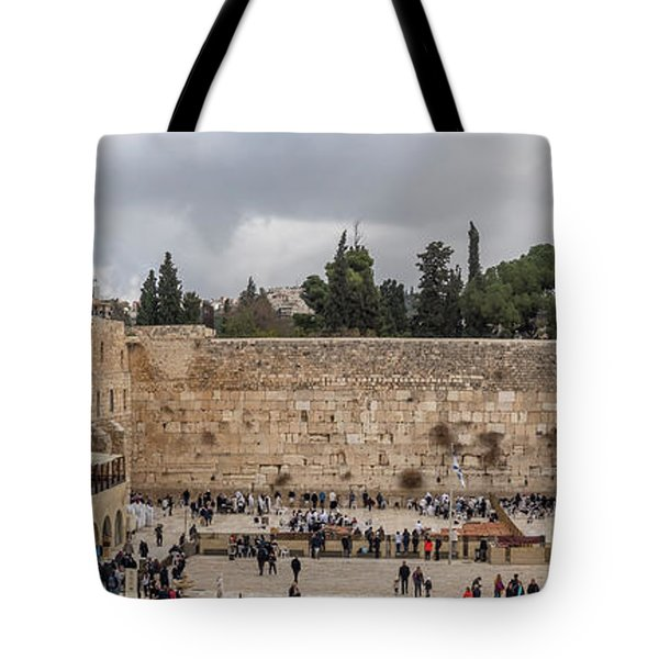 Panoramic View Of The Wailing Wall In The Old City Of Jerusalem Tote Bag