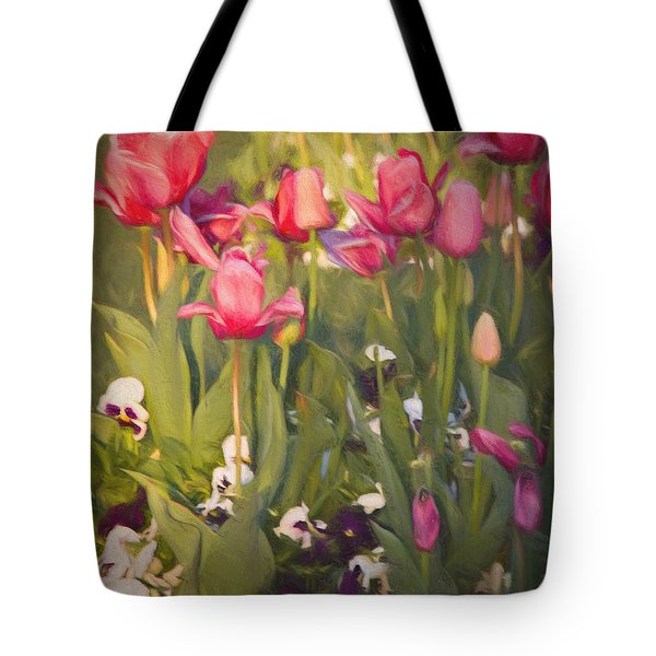 Tote Bag featuring the photograph Pansies And Tulips by Lana Trussell