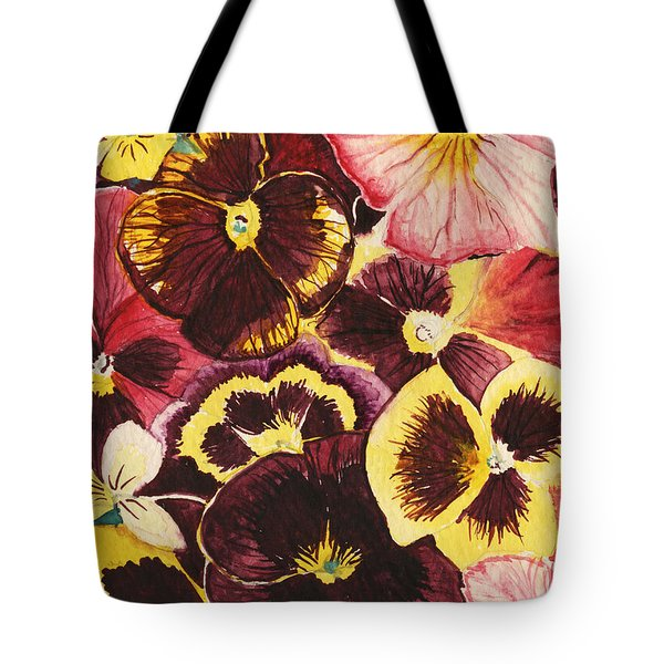 Tote Bag featuring the painting Pansies Competing For Attention by Shawna Rowe