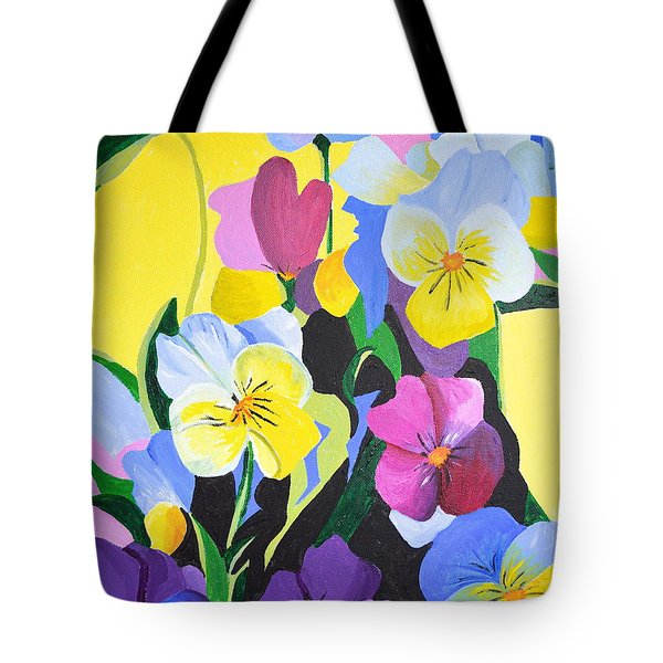 Tote Bag featuring the painting Pansies by Donna Blossom