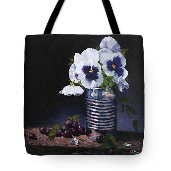 Pansies In A Can Tote Bag