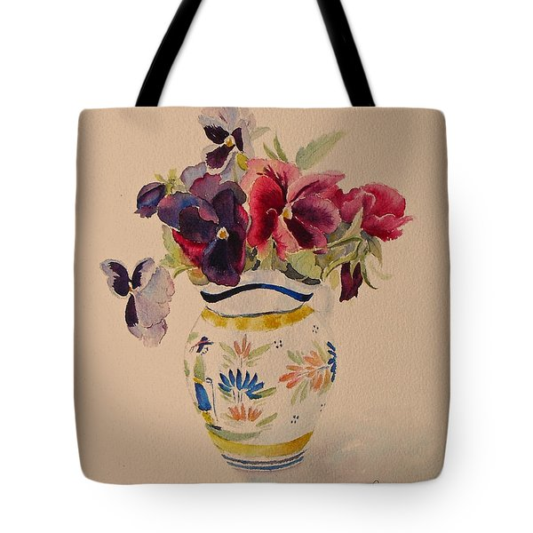 Tote Bag featuring the painting Pansies In A Quimper Pot by Beatrice Cloake
