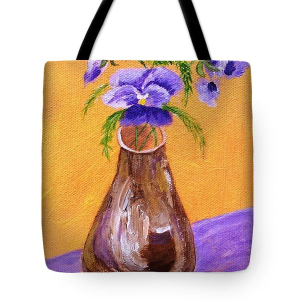 Pansies In Brown Vase Tote Bag