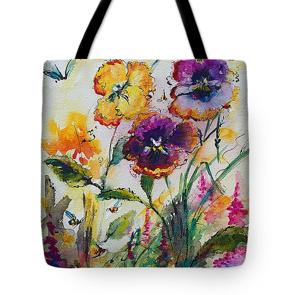 Pansies In My Garden Watercolor And Ink Tote Bag