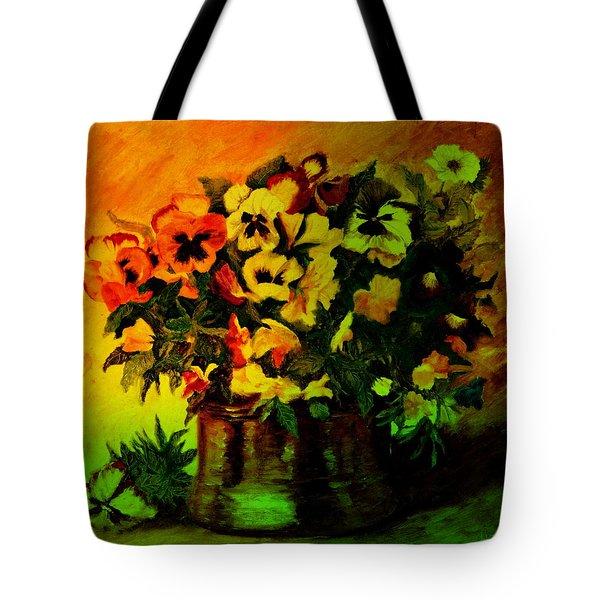 Pansies In The Vase Tote Bag