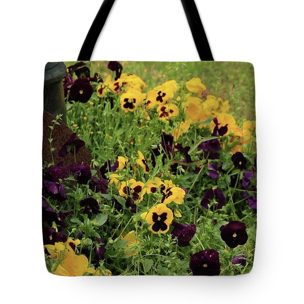 Tote Bag featuring the photograph Pansies by Kim Henderson