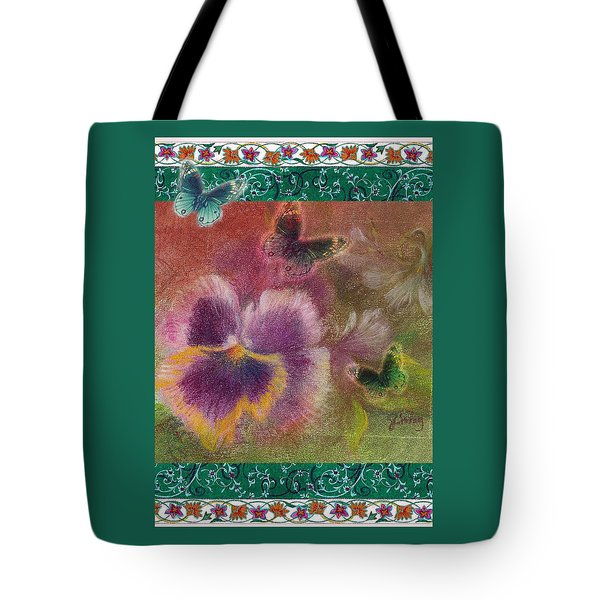 Tote Bag featuring the painting Pansy Butterfly Asianesque Border by Judith Cheng
