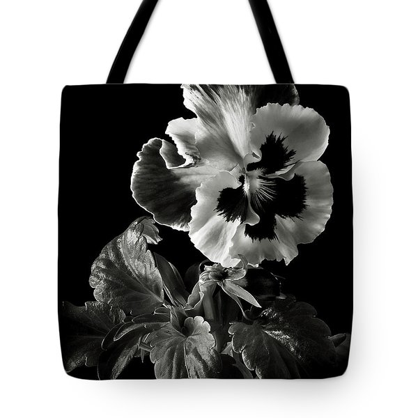 Pansy In Black And White Tote Bag