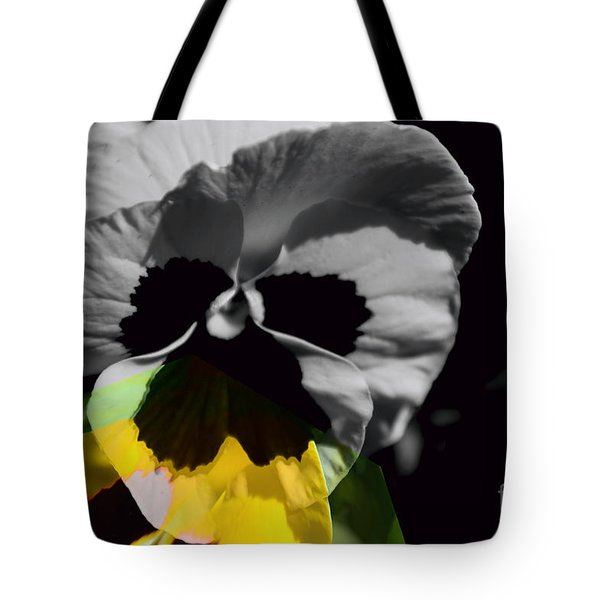 Pansy Shades Of Grey Tote Bag by Elaine Hunter